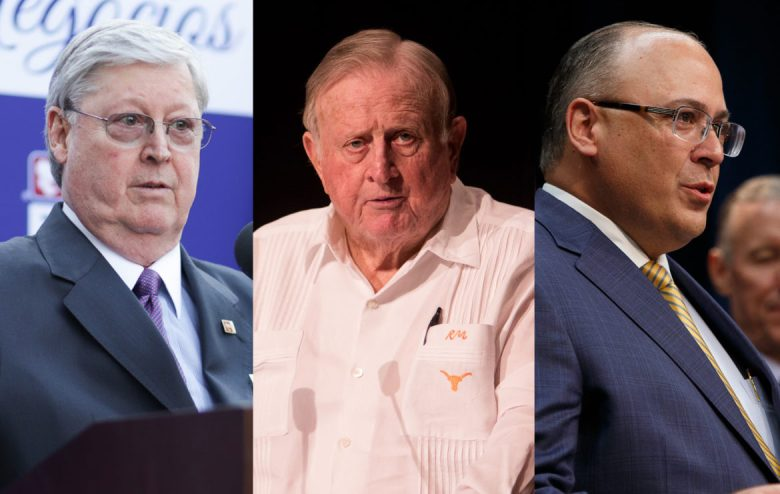 (From left) International Bank of Commerce corporate CEO and Board Chairman Dennis Nixon, Red McCombs, and Eddie Aldrete, IBC's senior vice president, along with John Montford (pictured below) asked Mayor Ron Nirenberg and City Council to bid on the 2020 Republican National Convention.