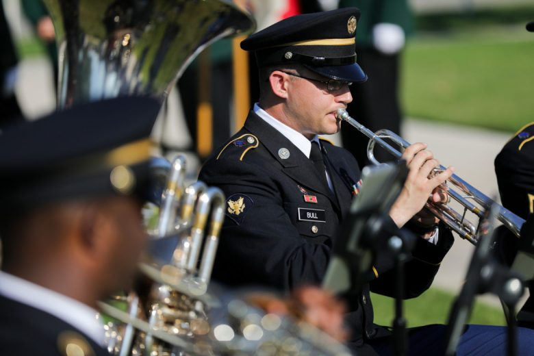 """323D Army Band """"Fort Sam's Own"""" performs a musical prelude."""