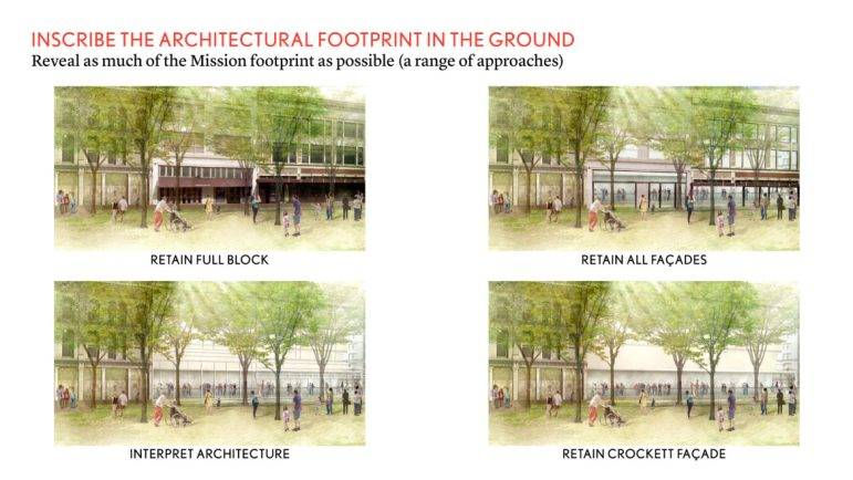 Renderings depict the plaza with four different options with and without historic buildings and facades.