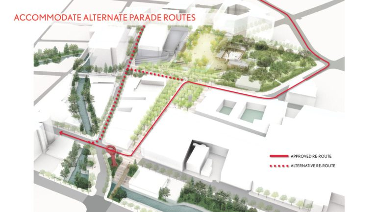 A conceptual path to accommodate parade routes near the plaza.