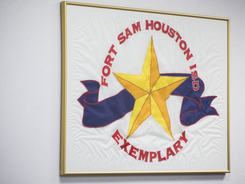 The signage in the Fort Sam Houston ISD school board room.