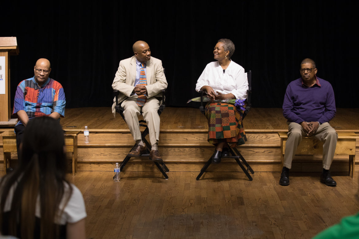 (From left) Actor Carl Brooks; Charles Gentry, Ode to Juneteenth Director; Actress Charlene Watt; and Eugene Lee, Ode to Juneteenth Playwright, answer questions from the audience.