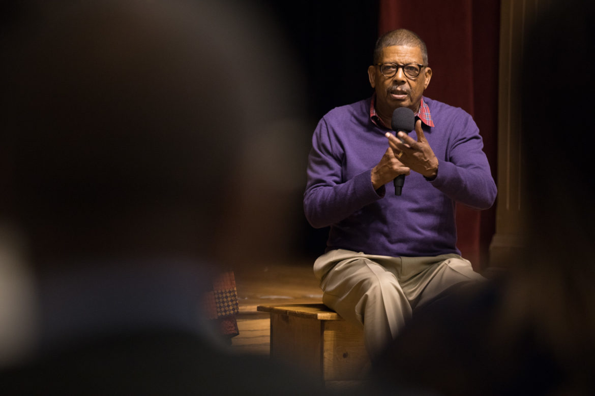 Eugene Lee, Ode to Juneteenth Playwright, answers questions from the audience.