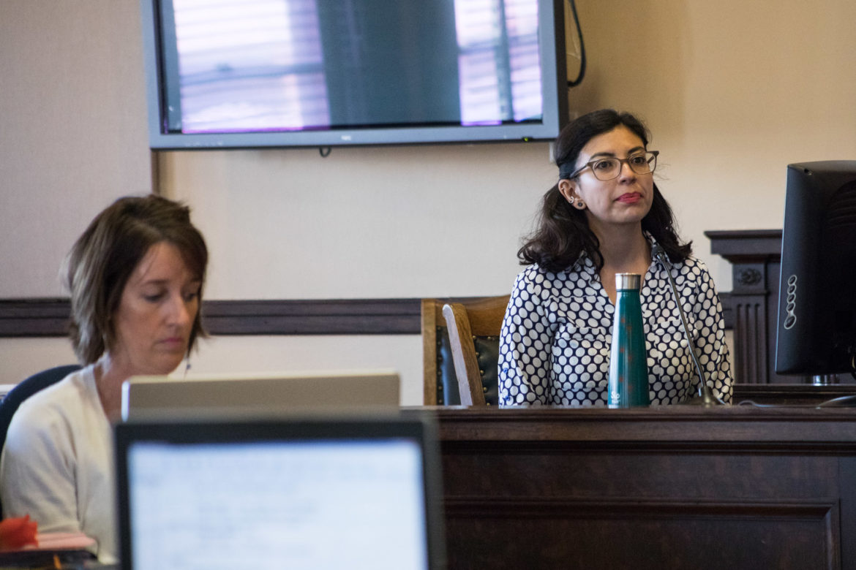 Alejandra Lopez testifies about her experience as a Stewart Elementary teacher.