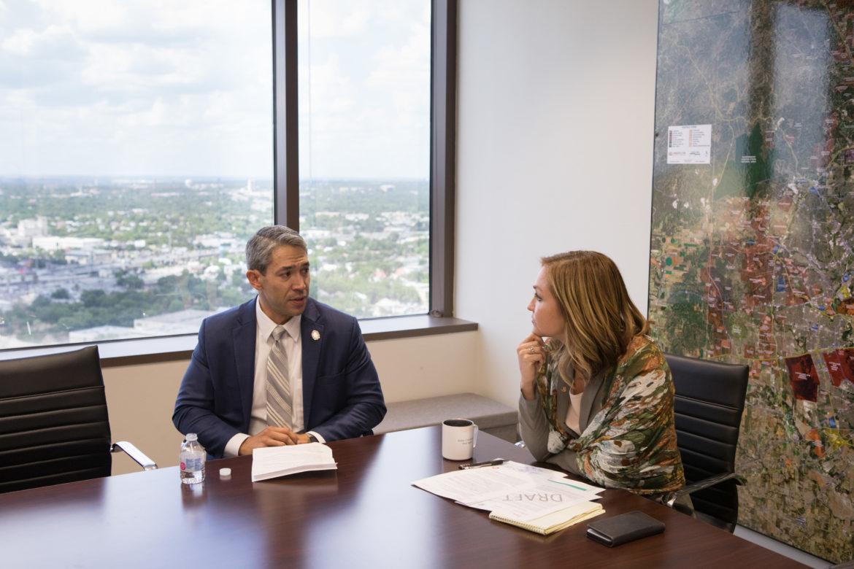 (From left) Mayor Ron Nirenberg and Jenna Saucedo-Herrera, San Antonio EDF President & CEO.