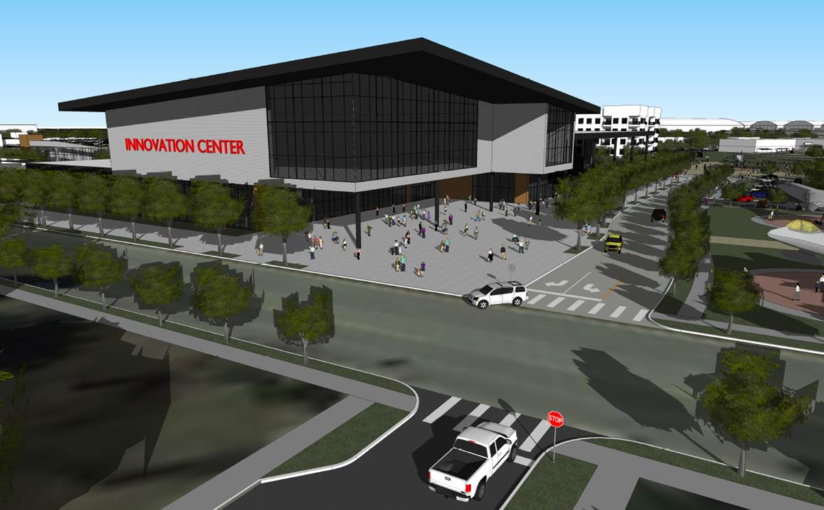 This rendering shows a front view of the new technology center that will house the expanded SAMSAT (San Antonio Museum of Science and Technology).