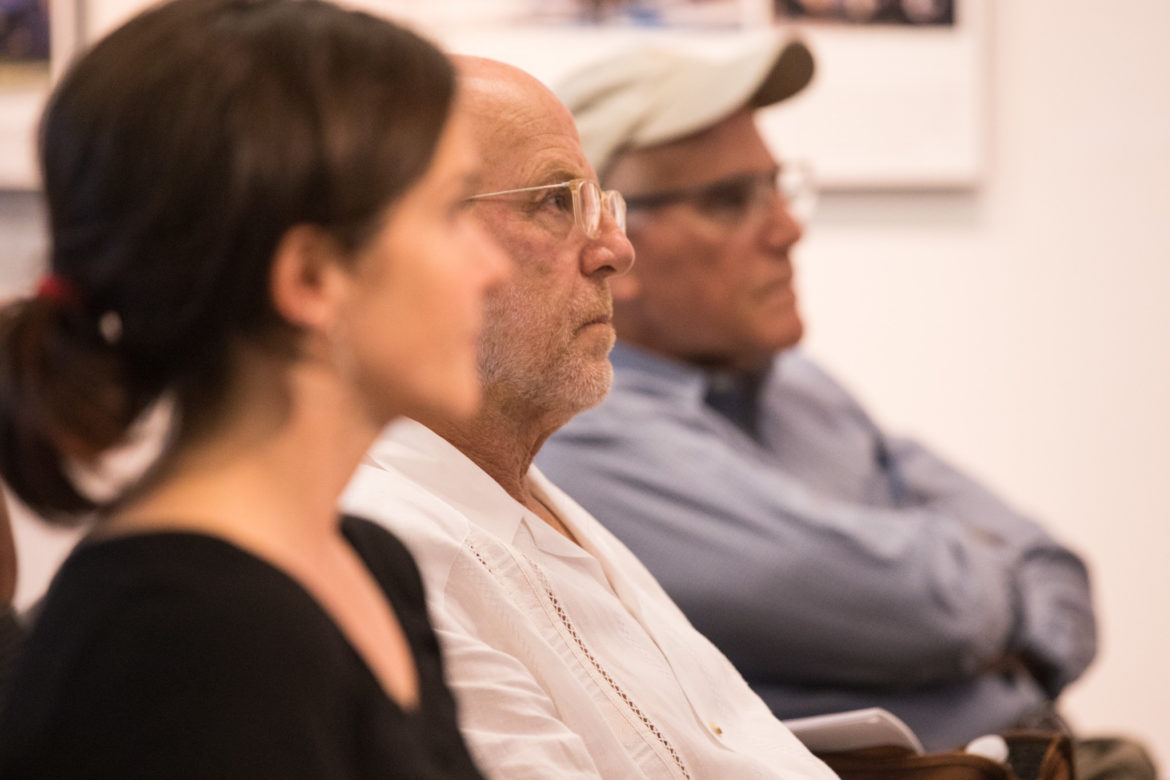 Ted Flato, Lake|Flato partner and founder, listens to the presentation.