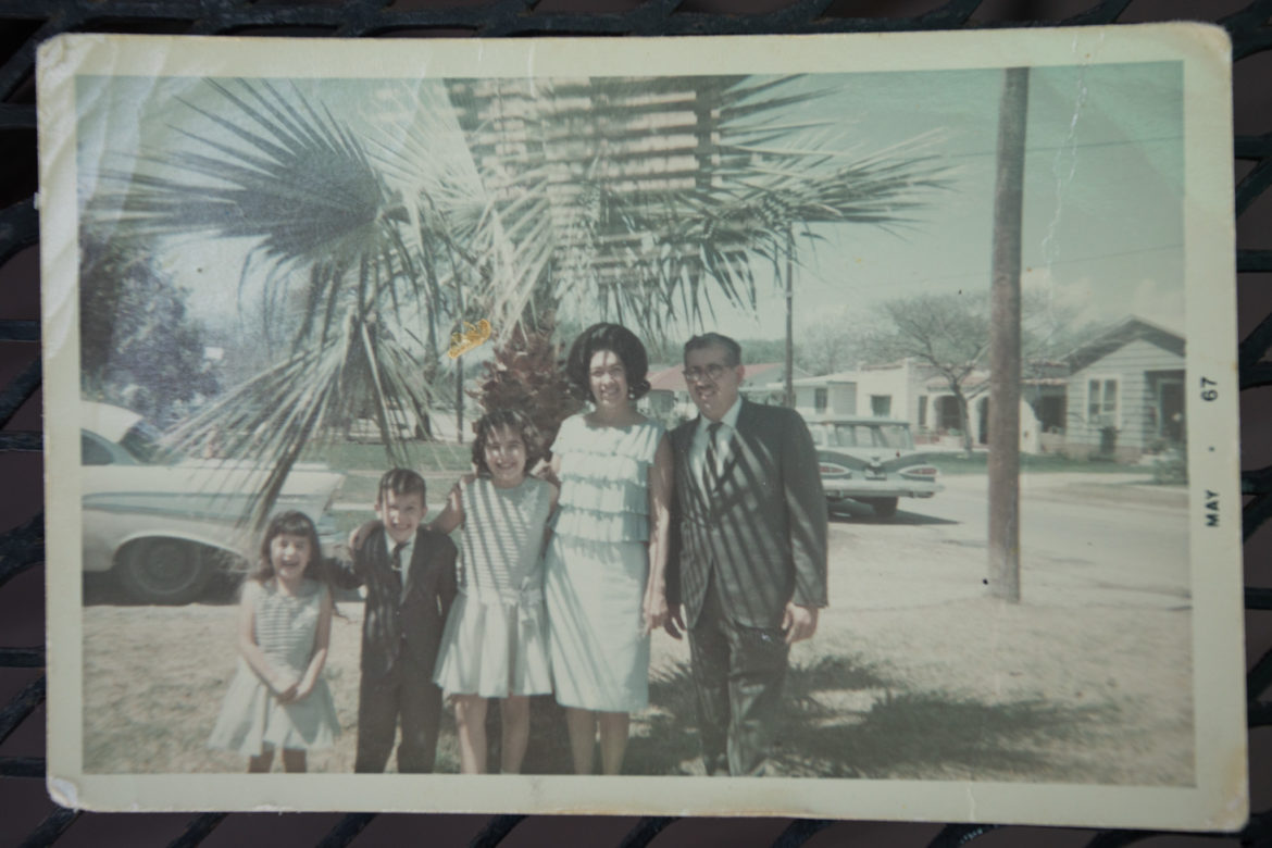 (From left) Diana Barrios-Treviño, Louie Barrios, Teresa Barrios-Ogden, Viola Barrios, and Jose? C. Barrios pose for a photograph on Mother's Day.