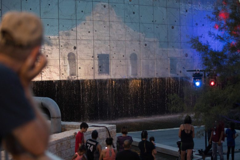The Alamo makes an appearance in the light show projected on the Rain from the Heavens installation.