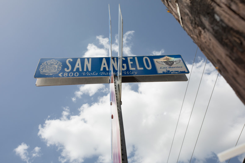 "In honor of Viola Barrios, ""Viola's Huge Heart"" San Angelo Street sign was placed in front of Los Barrios restaurant."