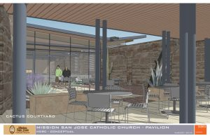 """The new parish hall would feature a """"cactus courtyard."""""""