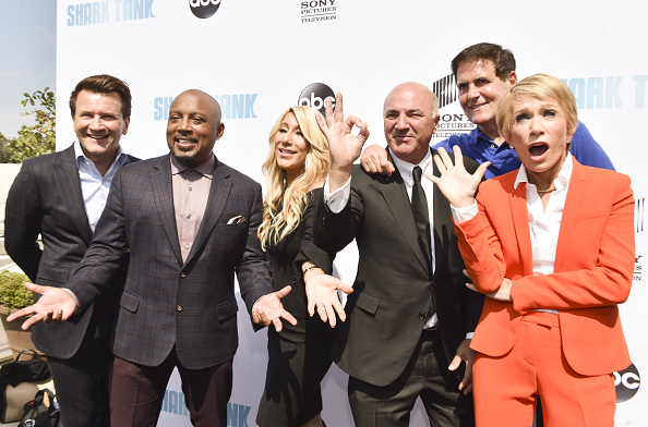"Sharks Robert Herjavec, Daymond John, Lori Greiner, Kevin O'Leary, Mark Cuban, and Barbara Corcoran attend the premiere of ABC's ""Shark Tank"" at The Paley Center for Media in Beverley Hills, California. (Photo by Rodin Eckenroth/FilmMagic)"