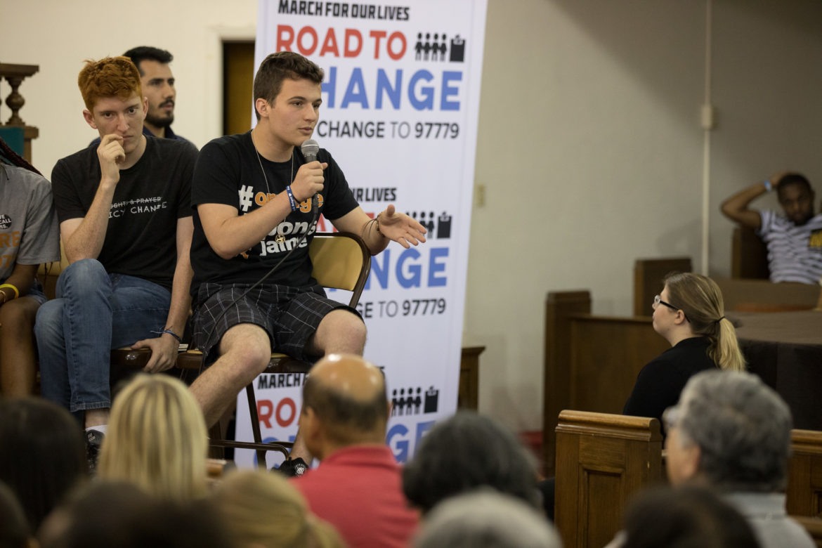 Stoneman Douglas High School student Cameron Kasky shares his thoughts to the audience.