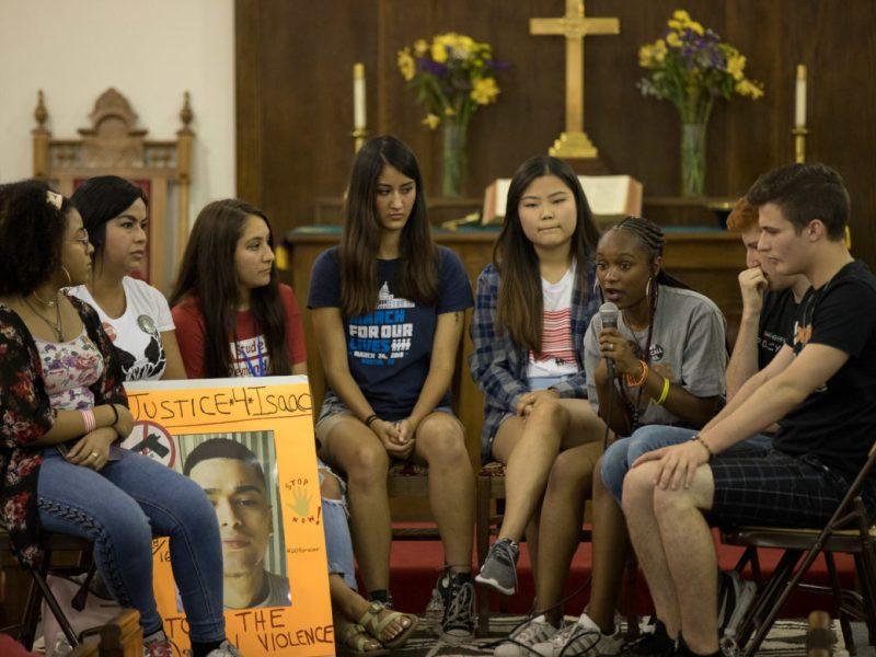(from left) Aayana Ragland, Janie Esparza, Sophia Mendez, Selina Eshraghi, Kelly Choi, Bria Smith, Ryan Deitsch, and Cameron Kasky gather at La Trinidad United Methodist Church to discuss gun violence and the push for policy change.