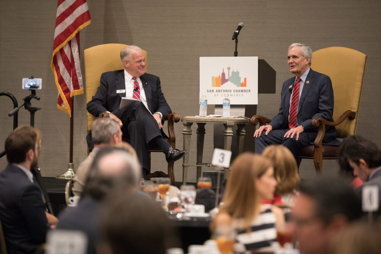 (right) U.S. Rep Lloyd Doggett (D-Texas) speaks with San Antonio Chamber of Commerce Board Chair Shaun Kennedy