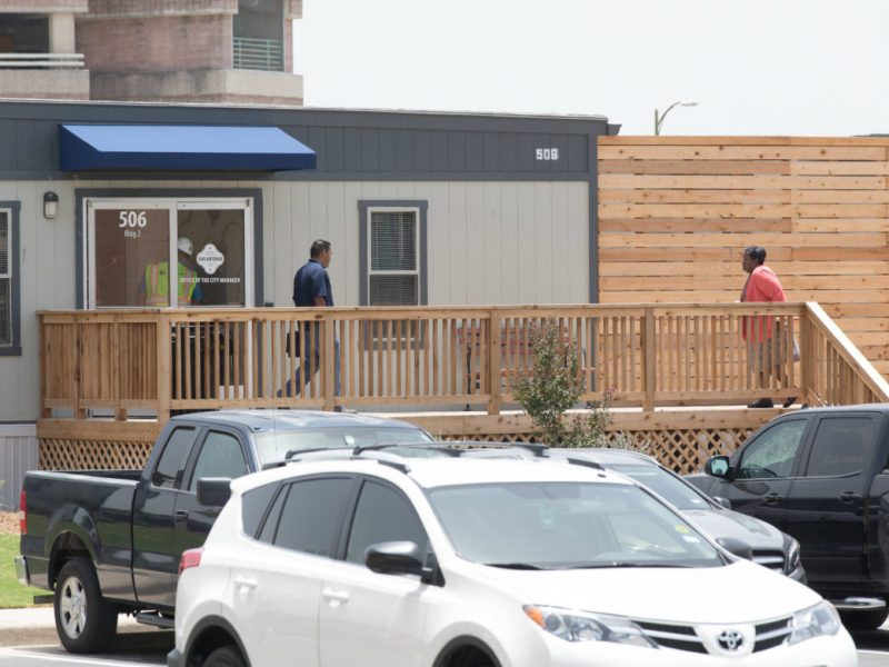 New modular offices are erected for City staff located nearby City Hall.