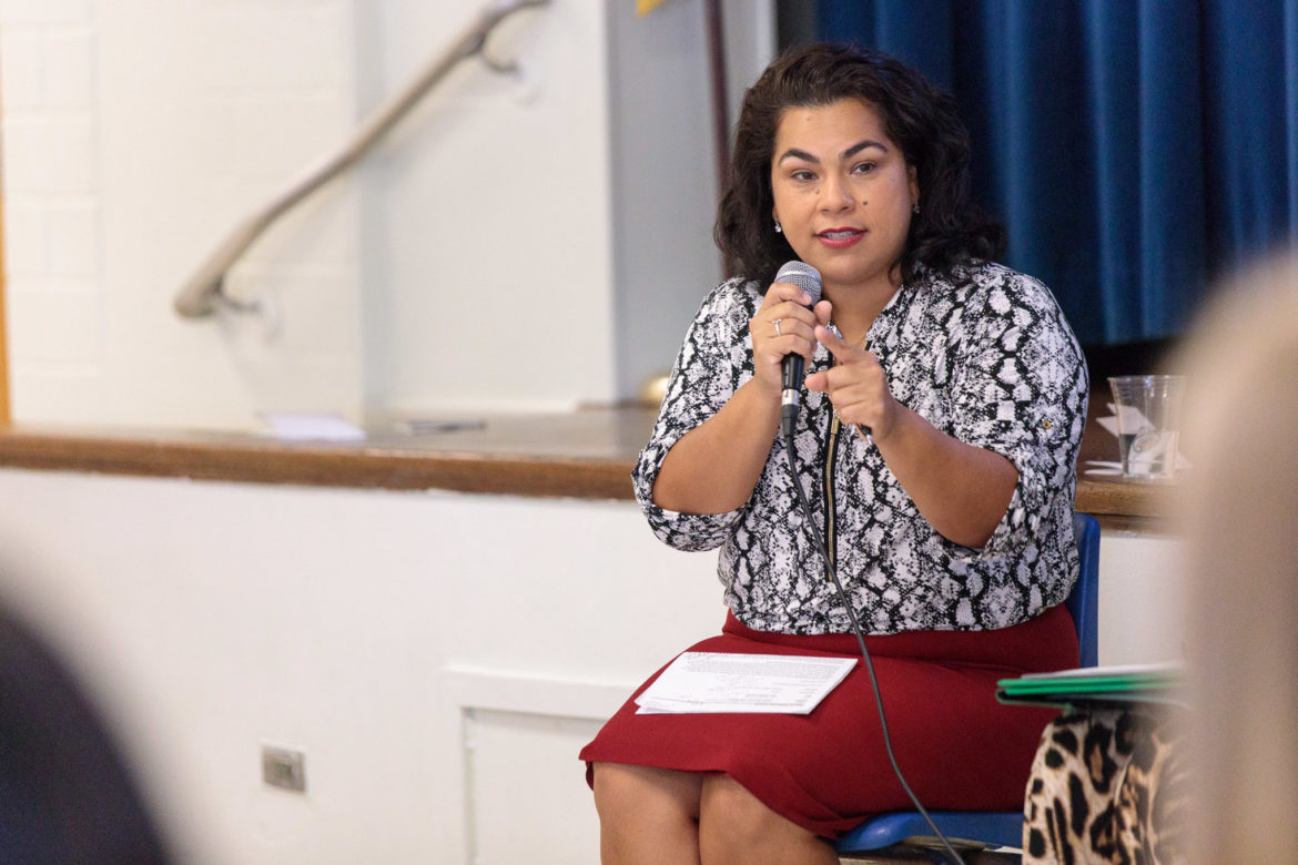Councilwoman Rebecca Viagran (D3) speaks to incoming teachers to Democracy Prep at Stewart Elementary on the first day of orientation.