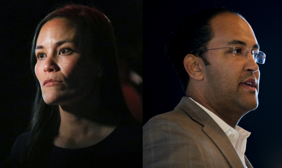 (From left) Gina Ortiz Jones, U.S. Air Force veteran, and U.S. Rep. Will Hurd (R), will face one another in the Nov. 6 midterm election.