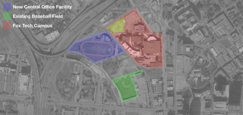 This map displays the option of the new central office if located on the football field at Fox Tech.