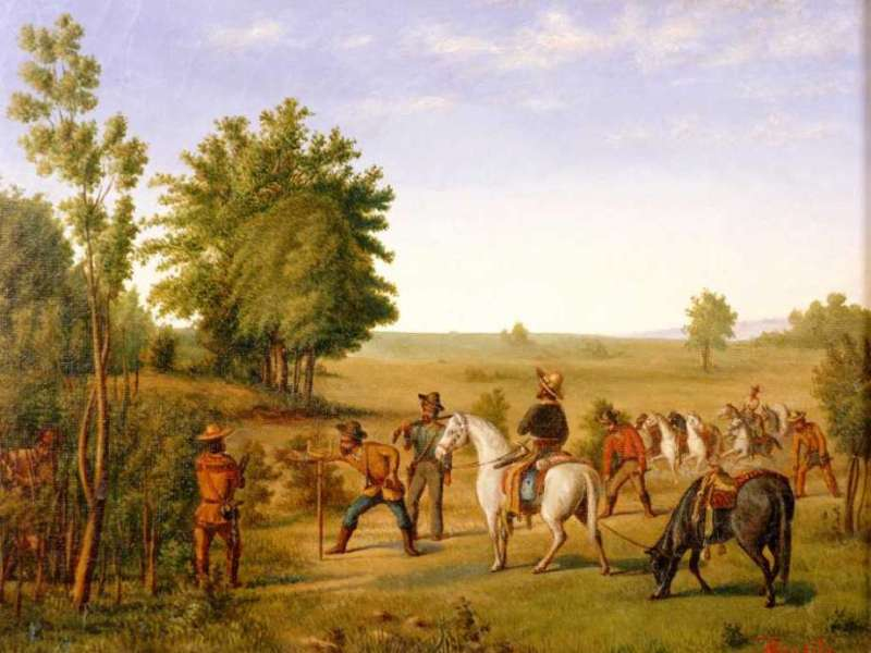 """The painting """"Stick Stock"""" by Theodore Gentilz shows surveyors in Texas before Annexation to the U.S. in and around San Antonio."""