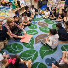 Carvajal Early Childhood Education Center teacher Andrea Greimel reads to her class.