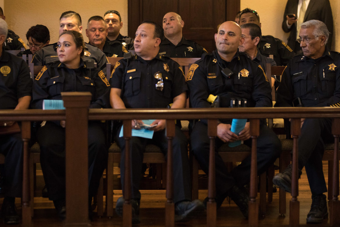 Bexar County constables attend Commissioners Court.