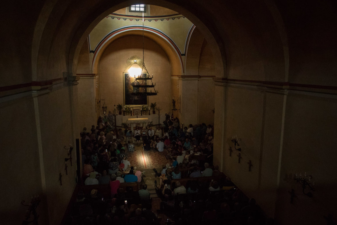 The moment just after the double solar illumination at Mission Concepción.