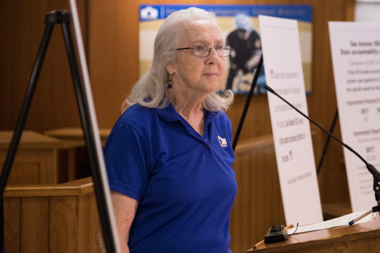 SAISD Board President Patti Radle speaks about SAISD's 2018 accountability ratings.