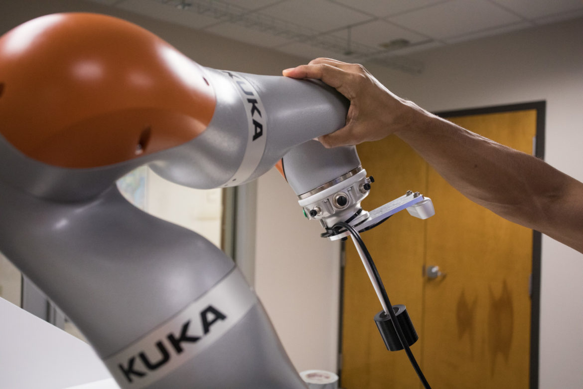 A KUKA iiwa robot in the Collaborative Robotics Laboratory at Southwest Research Institute.