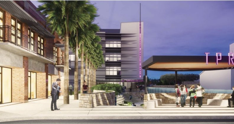 This conceptual rendering shows the view of TPR's headquarters from West Commerce Street.