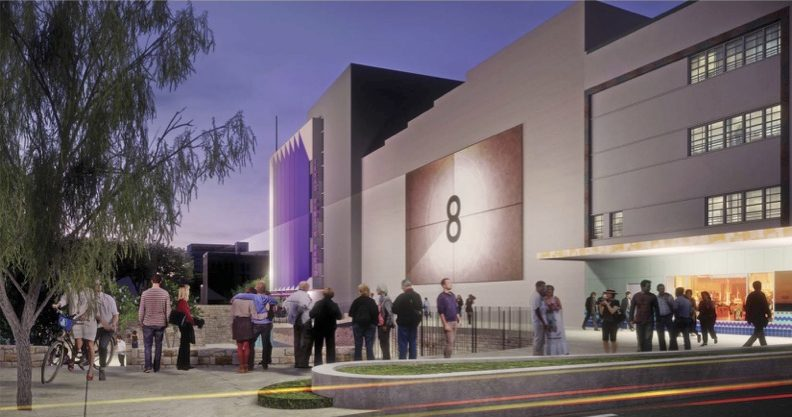 This conceptual rendering shows a view of TPR's headquarters (left) and the Alameda Theater (right) from West Houston Street.