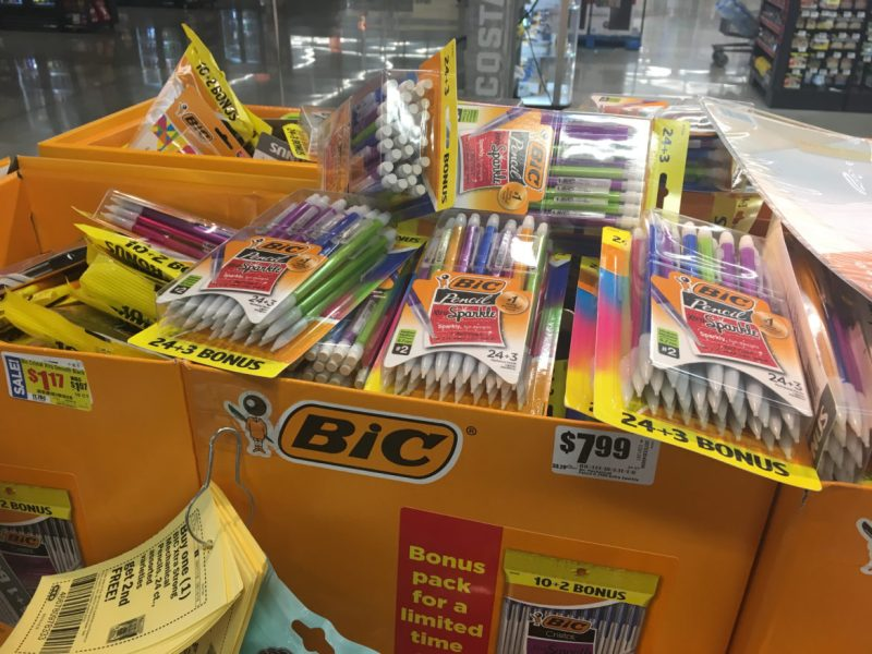 Mechanical pencils and other supplies are featured prominently in the walkways of a local H-E-B.