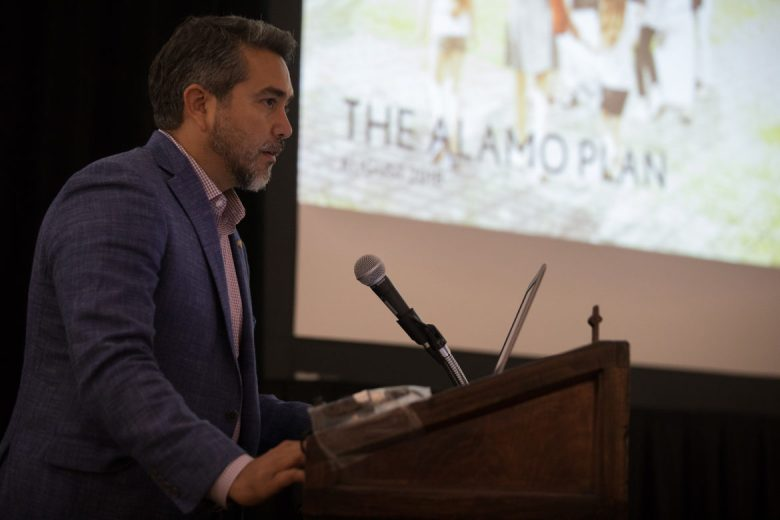 Councilman Roberto Treviño introduces the updated Alamo plan at the Menger Hotel.