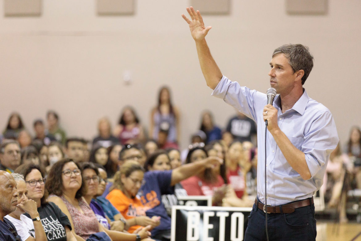 Beto O'Rourke addresses the audience at the Second Baptist Church Community Center on Sunday in San Antonio.