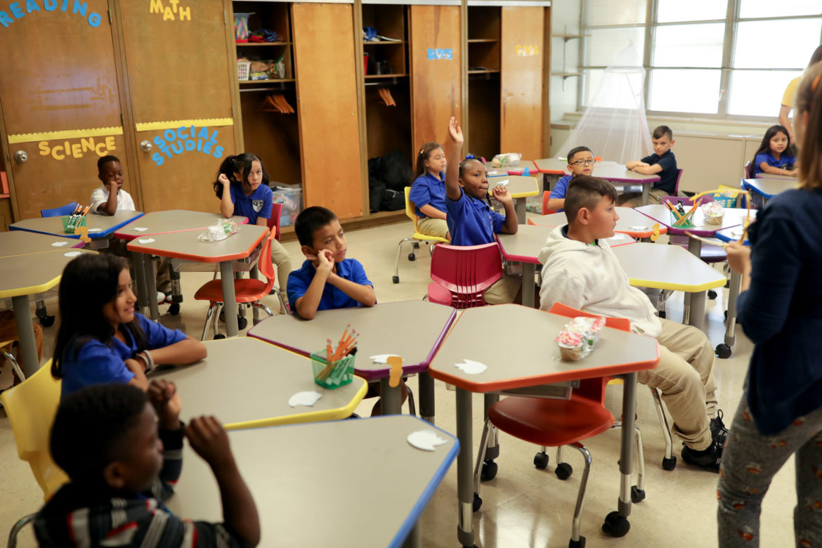 A third grade classroom at Stewart Elementary on the first day of school.