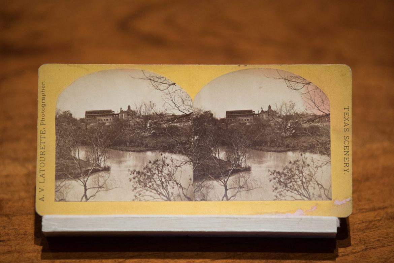 A stereograph of the San Antonio River.