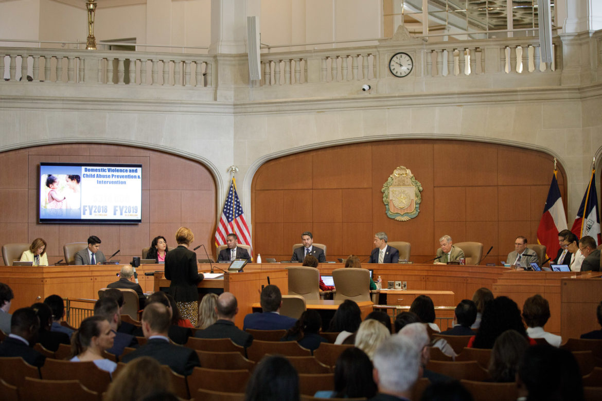 City Manager Sheryl Sculley presents the fiscal year 2019 city budget to council.