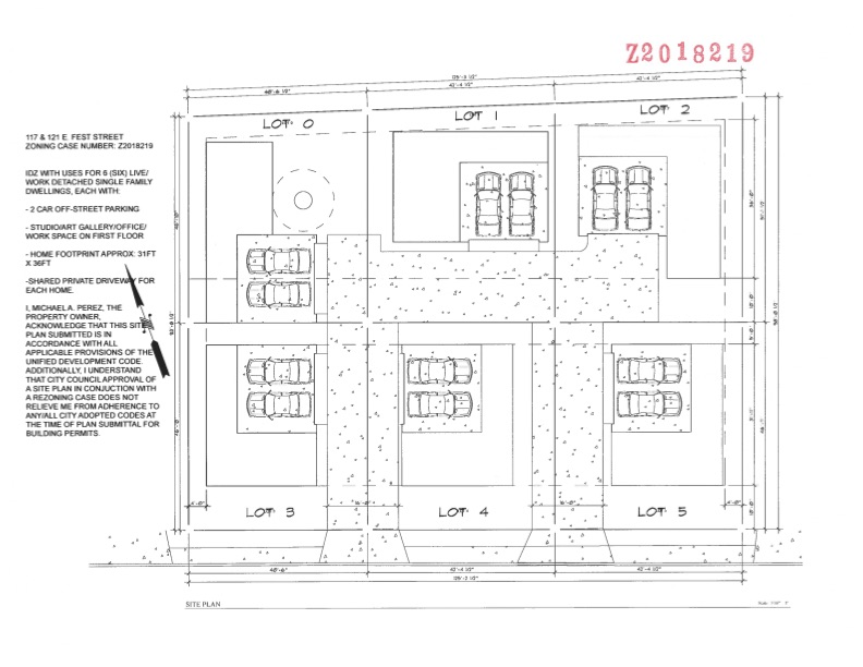 The site plan for 117 and 121 East Fest Street