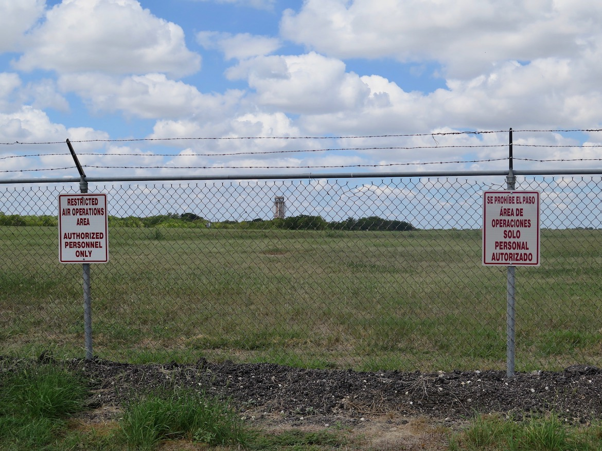 Stinson Airport's new control tower sits beyond the gates of the airport's perimeter.