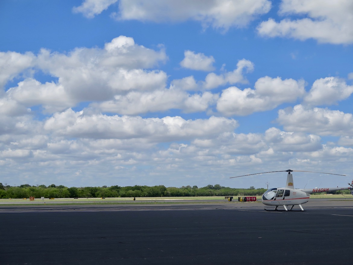 A helicopter awaits passengers at Stinson Airport.
