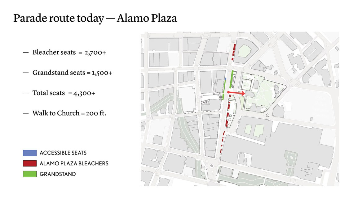 The current parade route to Alamo Plaza.