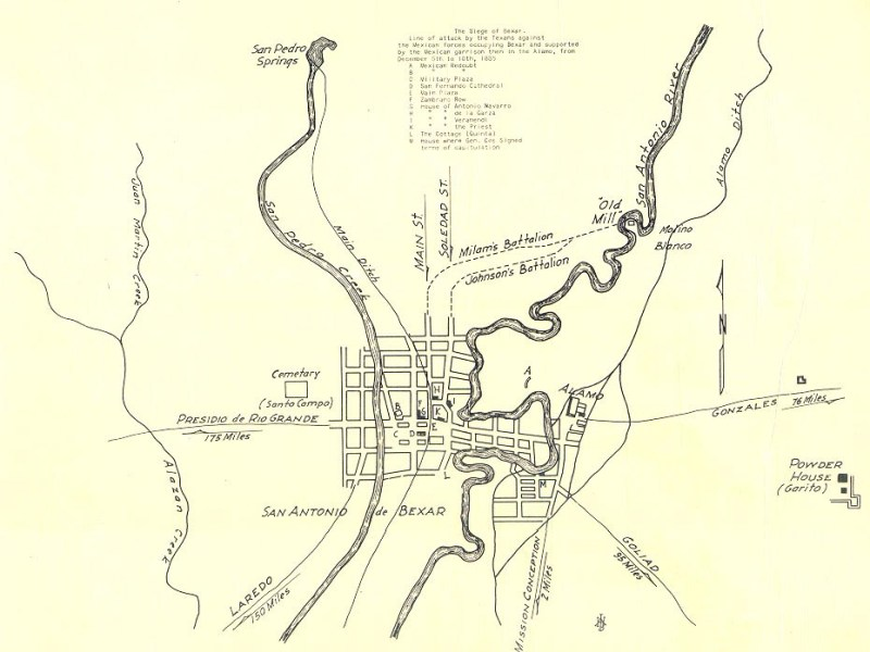 Map of the Siege of Bexar.