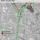 The traffic access plan surrounding the proposed SAISD central office site.