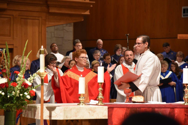 Susan Jennifer Briner (center) was elected first female bishop of the Southwestern Texas.