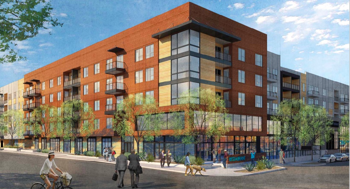 A rendering of NRP Group's planned mixed-use building at 1011 Broadway.