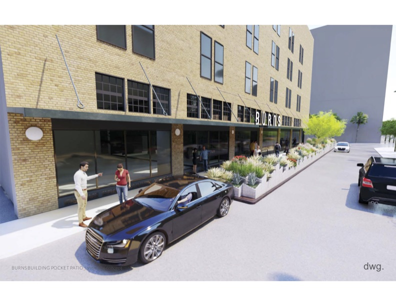 A rendering featuring the proposed 'parklet' to line the Burns building downtown.