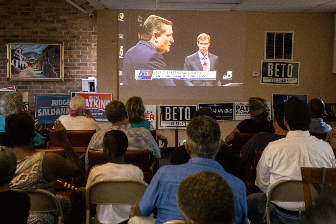 The Bexar County Democratic Party headquarters are filled for the watch party.