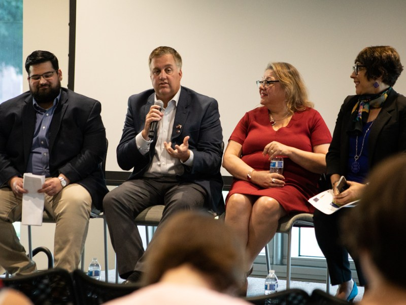 (From left) Steven Hussain, Goodwill Chief Mission Services Officer; Craig Hopkins, City of San Antonio Chief Innovation Officer; Jo Ana Alvarado, San Antonio Housing Authority Director of Innovative Technology; and Jordana Barton, Federal Bank of Dallas Senior Advisor speak at the Digital Inclusion Forum at UTSA Downtown Campus.