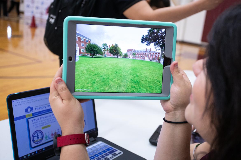 Jeannette Aguilar, Harris Academy sixth and seventh grade teacher, demonstrates the Nearpod app on the iPads.
