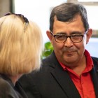 Republican Peter Flores, running for the Senate District 19 seat, (right) talks to his campaign supporters before early voting is completed at his watch party on September 18, 2018.Republican Peter Flores, running for the Senate District 19 seat, (right) talks to his campaign supporters before early voting is completed at his watch party on September 18, 2018.